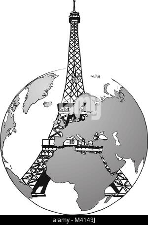 Travel to France. Road trip. Tourism sketch concept with landmarks. Travelling vector illustration. Hand-drawn modern - Stock Photo