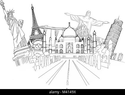 Travel to World Sketch. Road trip. Tourism sketch concept with landmarks. Travelling vector illustration. Hand-drawn - Stock Photo