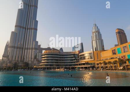 Burj Khalifa known as the Burj Dubai, a megatall skyscraper in Dubai, United Arab Emirates, UAE - Stock Photo
