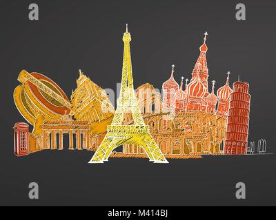 Travel to Europe. Sketches on Chalkboard. Tourism concept with landmarks. Travelling vector illustration. Hand-drawn - Stock Photo