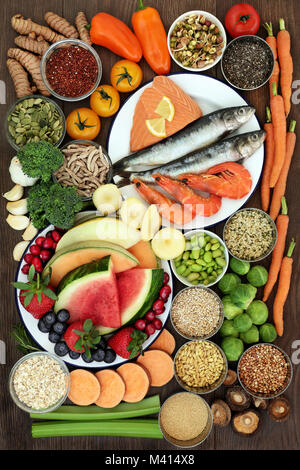Health food sampler with super foods high in omega 3 fatty acids, antioxidants, vitamins, anthocyanyns, fibre and - Stock Photo