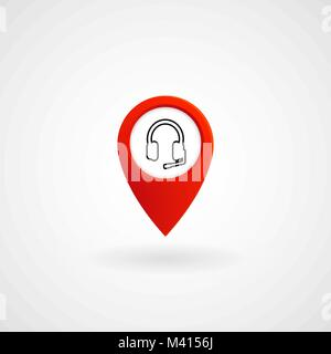 Red Location Icon for Call Center, Vector, Illustration, Eps File - Stock Photo
