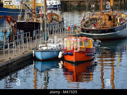 Heritage Sailing Trawlers in Brixham Harbour - Stock Photo