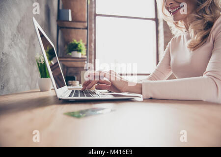Cropped closeup photo of elegant woman's hands typing and searching information on the internet using her netbook - Stock Photo