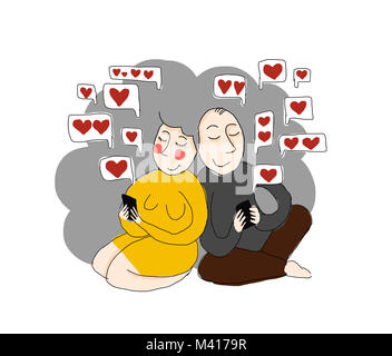 love sms - illustration, two old people / grandparents / using phones. love in old age. - Stock Photo