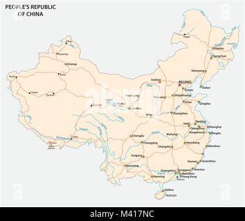 People's Republic of China road vector map with flag - Stock Photo
