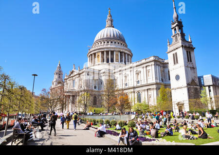 St Paul's Cathedral and Festival Gardens, London, England, UK - Stock Photo
