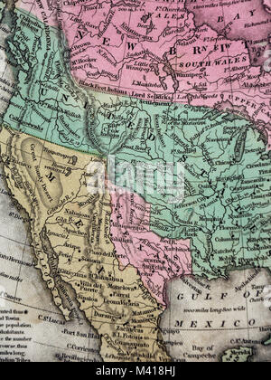 1839 mitchell map republic of texas united states mexico north america stock