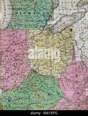 Indiana Kentucky West Virginia Virginia Ohio Map labelled