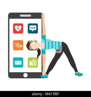 woman athlectic physical healthy life smartphone applications web - Stock Photo