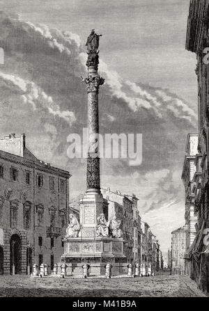 The Column of the Immaculate Conception, Rome, Italy, 19th Century - Stock Photo