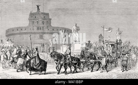 The papal procession, Feast of the Immaculate Conception at the Mausoleum of Hadrian, Rome, Italy, 19th Century - Stock Photo