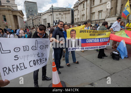 'London Supports Rafael Correa' reads a banner in rally by Ecuadorians in Trafalgar Square supporting President - Stock Photo