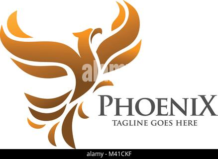 elegant phoenix, fire bird, legend, hawk, eagle logo concept - Stock Photo