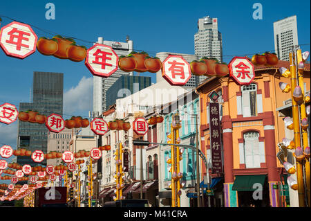 12.02.2018, Singapore, Republic of Singapore, Asia - Annual street decoration along South Bridge Road for the Chinese - Stock Photo