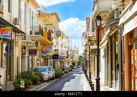Rethymno, Greece - May 3, 2016: Walk around the old resort town Rethymno in Greece. Architecture and Mediterranean - Stock Photo