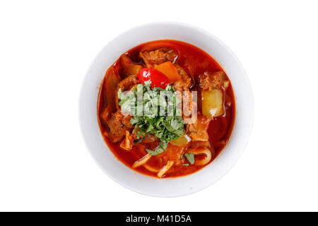 National lagman dish on white background. Isolated. - Stock Photo