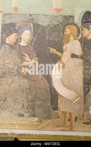 story of John the Evangelist, Masolino da Panicale, 1435, Baptistery of San Giovanni Battista, Castiglione Olona - Stock Photo