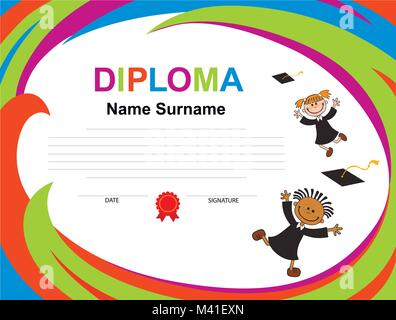 Kids Diploma certificate background design template - Stock Photo