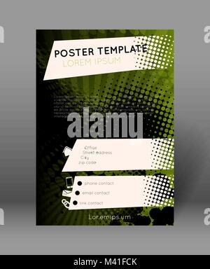 retro poster template with halftone effect, sun rays, splatters - Stock Photo