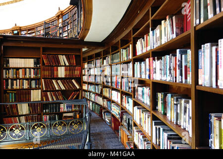 The Circular Wooden Book Shelves in the Picton Reading Room in Liverpool Central Library.  Curved, Curving - Stock Photo