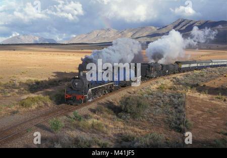 South Africa. Near Oudshoorn. Little Karoo. Steam  train. - Stock Photo