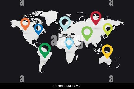 set of colored map pointers with world map on black background - Stock Photo