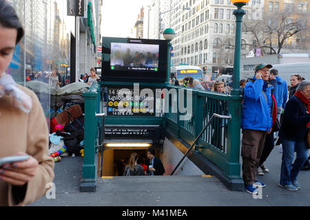 A street scene near a subway station on Union Square 14th st in Manhattan - Stock Photo