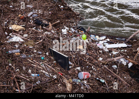 Europe, Germany, Cologne, flotsam at a landing stage after flood of the river Rhine.   Europa, Deutschland, Koeln, - Stock Photo