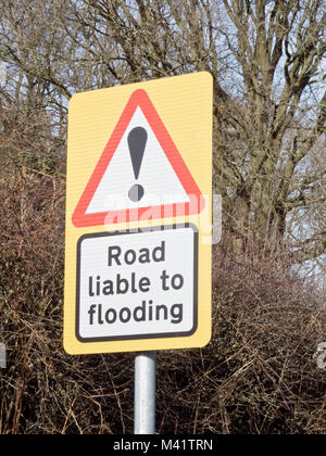 Road Liable to Flooding, Road Sign, UK - Stock Photo