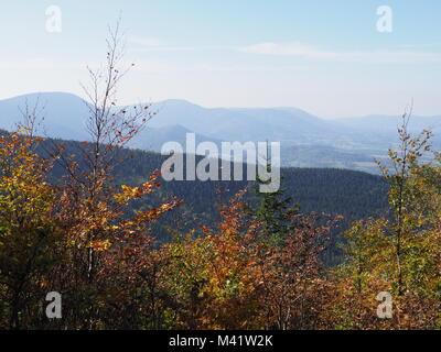 Scenic view on Moravian-Silesian Beskids mountains range landscape seen from Lysa Hora mount in Czech Republic - Stock Photo