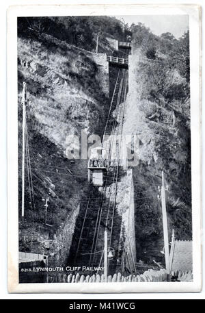 A postcard, circa 1920, of the Lynton & Lynmouth funicular Cliff Railway, N. Devon, England, UK, opened on Easter - Stock Photo