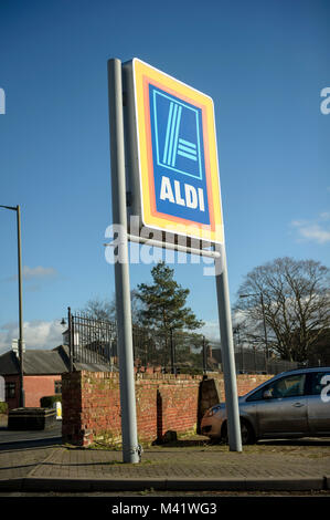 Aldi food store with sign in Leominster UK. Shop front.