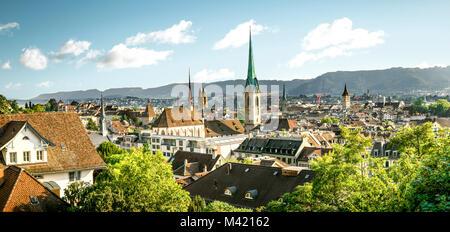 Panorama of Zurich historic city center, Switzerland - Stock Photo