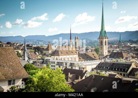 Old town of Zurich as seen from the viewpoint - Stock Photo