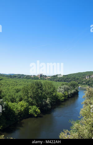 Landscape with river the Dordogne in France - Stock Photo