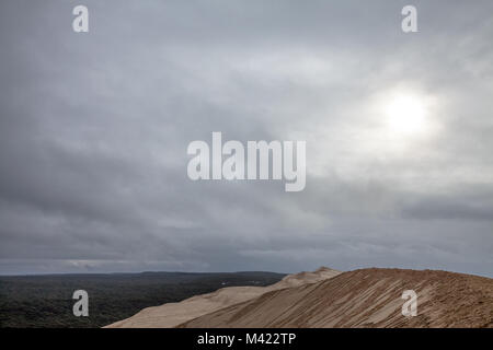 Panorama of the Pilat Dune (Dune du Pilat) during a cloudy afternoon with a pine forest in background. Pilat, or - Stock Photo