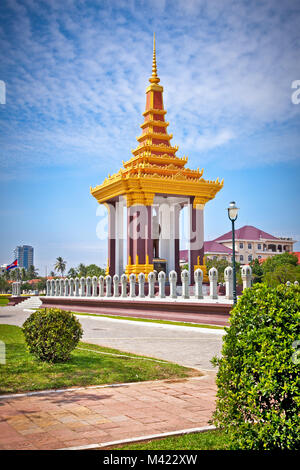 Statue of King Father Norodom Sihanouk  in Phnom Penh, Cambodia. - Stock Photo