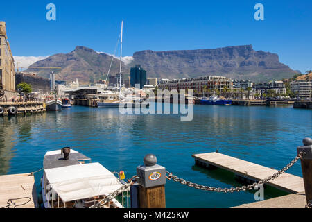 V&A Waterfront, Cape Town, South Africa, with boats in the Marina, the Cape Grace Hotel with Table Mountain behind