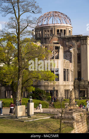 The Atomic Bomb Dome (Genbaku Domu), the former Hiroshima Industrial Promotion Hall, in the Peace Memorial Park, - Stock Photo