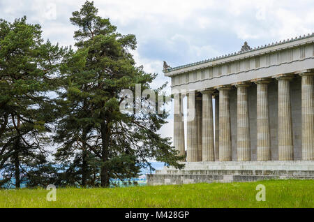 Walhalla Hall of Fame in Donaustauf at the Danube River near Regensburg, Bavaria, Germany, view from Northeast. - Stock Photo