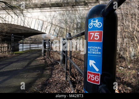 National Cycle Network sign on River Clyde Walkway in Glasgow, Scotland, United Kingdom - Stock Photo