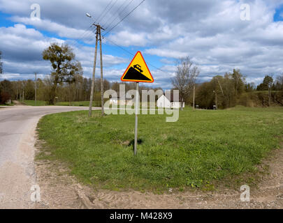 road sign 'steep descent', sign 'steep descent' on a country road - Stock Photo