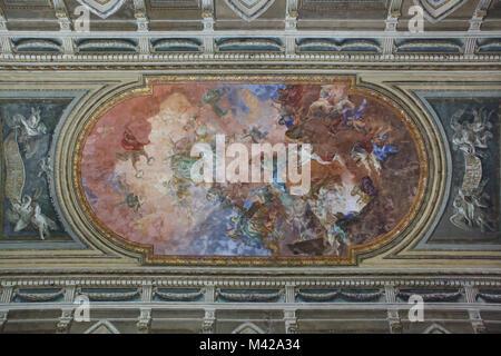 Ceiling painting by Italian Rococo painter Pietro Bardellino in the Salone della Meridiana in the Palazzo deli Studi, - Stock Photo