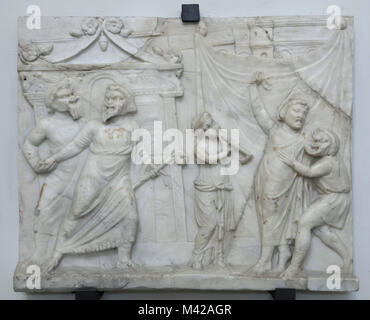 Theatrical scene depicted in the Roman marble relief from the 1st century AD from the Farnese Collection on display - Stock Photo