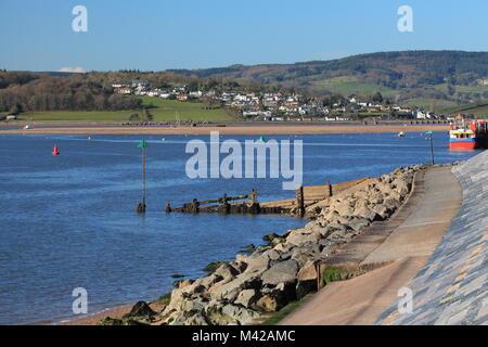 View from Exmouth beach across Exe Estuary to Cockwood, Devon, England, UK - Stock Photo