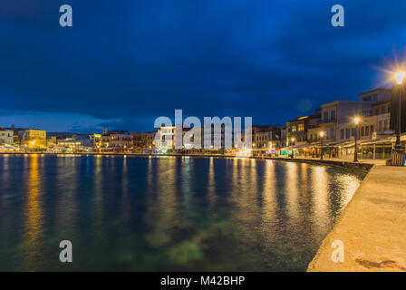 Night view of the Old Venetian Port of Chania, Greece - Stock Photo