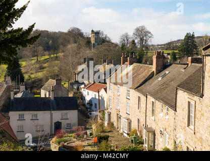View down Cornforth Hill towards Culloden Tower, Richmond, North Yorkshire, England, UK - Stock Photo