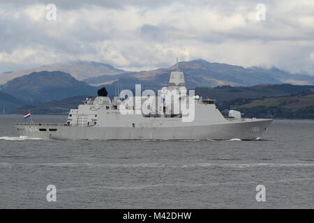 HNLMS De Ruyter (F804), a De Zeven Provincien-class frigate operated by the Royal Netherlands Navy, arriving for - Stock Photo