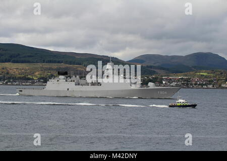 HNLMS De Ruyter (F804) operated by the Royal Netherlands Navy, being escorted by MDP Barra, on her arrival for Exercise - Stock Photo